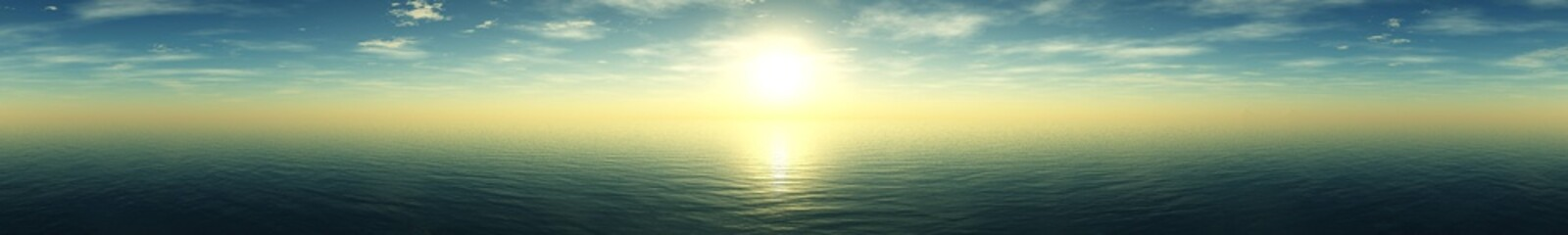 Beautiful sea sunset, panorama of sunset at sea, ocean sunrise,