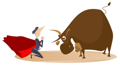 Cartoon bullfighter and angry bull illustration. Cartoon bullfighter with matador cape and sword stands in the kneel in front of the angry bull and prays for mercy isolated on white illustration