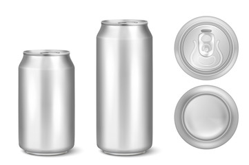 Papiers peints Biere, Cidre Silver blank beer can. Template for drinks, alcohol, soda, lemonade, cola, energy drink, juice, water. Set close-up isolated on white. Design template of packaging, mock-up. Front, top, back view