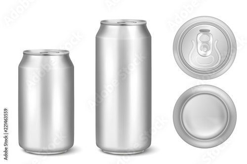 silver blank beer can template for drinks alcohol soda lemonade
