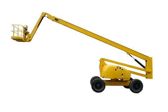yellow industrial lifter isolated on white background