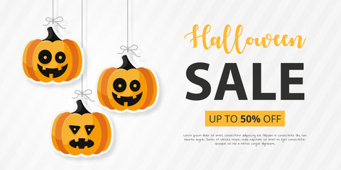 Halloween sale with flat icon. Vector illustration