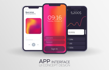 Set of Mobile UI Design Concepts. Bank Interface, Music Player, Login. Vector Illustration.