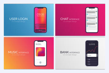 Set of Mobile UI Design Concepts. Bank Interface, Music Player, Chat application, Login. Vector Illustration.