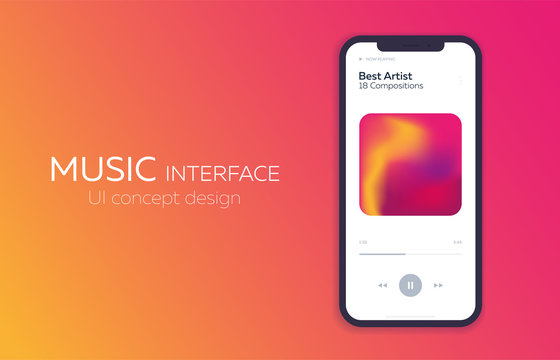 Mobile UI Design Concept. Music Player. Vector Illustration.