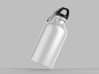 Aluminium Water Bottle For Mock up And Template Design. 3d Render Illustration.