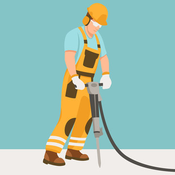 worker with a pneumatic hammer  vector illustration flat style profile
