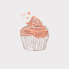 cupcake sketch theme vector art illustration