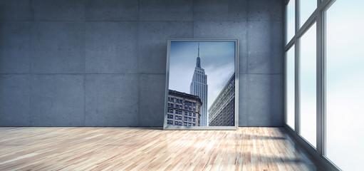 Loft mit Bilderrahmen und Motiv New York