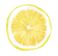 half a lemon, watercolor hand-drawn drawing of a fruits, isolated illustration on a white background