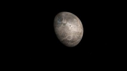 Eris. Secondo pianeta nano per diametro medio del sistema solare, immagine 3D, rendering 3D