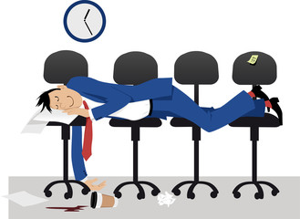 Man sleeping on chair in the office in the middle of work day, EPS 8 vector illustration