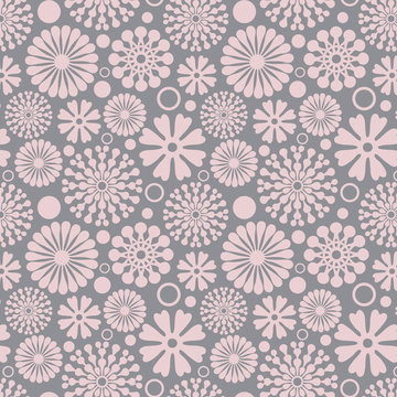 Seamless pink abstract flower vector pattern on grey background, perfect for wallpaper, scrapbooking, textile design and homeware