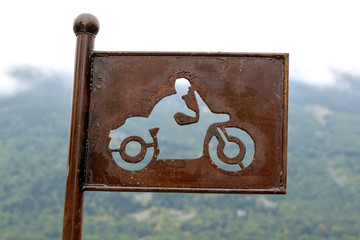 Rusty , French parking sign for motorbikes ,