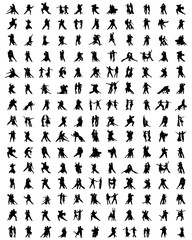 Black silhouettes of tango players, vector