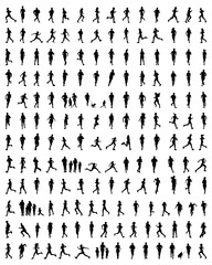 Black silhouettes of runners, vector