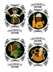 Set of oktober festival emblems