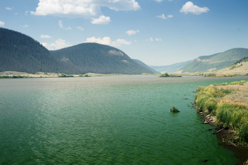 Water surface of   Brown Lakes, Rio Grande National Forest,  Colorado, US