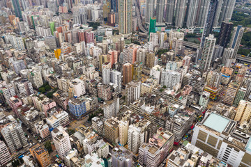 Drone fly over Hong Kong urban downtown