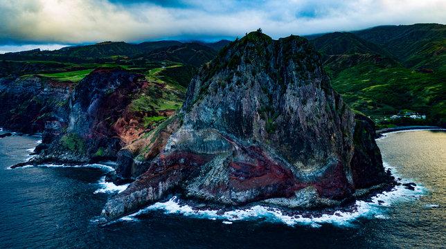 Mahinanui Maui Hawaii - Drone photo of Mahinanui on North Shore Maui Hawaii.  Beautiful high-resolution phot this massive rock beautiful water.