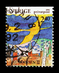 Celebration of Swedish Flag and National Days at Skansen park, Rebate stamps, Stockholm serie, circa 1991