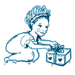 Lovely little girl with curly hair and gift box with bow. Blue contour child silhouette for presents design, prints, posters, greetings cards, t shirts, festive banners, kids room interior