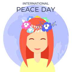 Beautiful girl with flowers wreath on International peace day. Color illustration with text for design