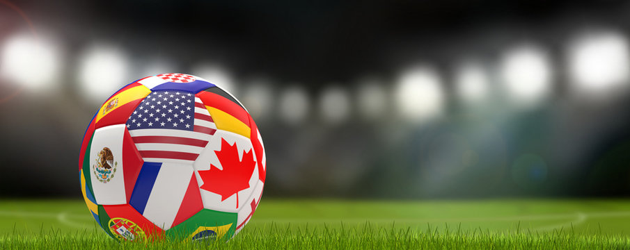 soccer ball USA Canada Mexico 3d-illustration