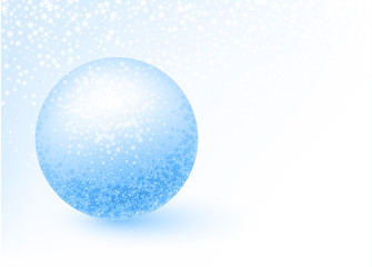Blue winter background with shiny snow ball.
