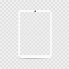 Realistic white tablet view with transparent background. Vector.