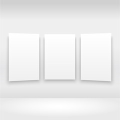 Empty frames on the wall in gallery with lights. Vector