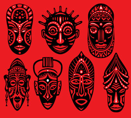 Set of Tribal African Masks on red background