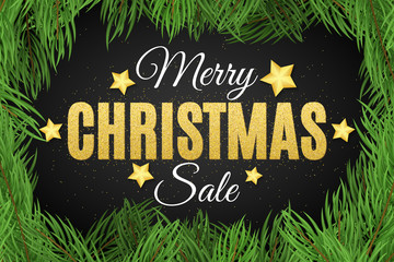 Merry Christmas. Inscription from the golden glitters. Christmas tree. Christmas sale. Great discounts. Luxury gold stars. Vector illustration