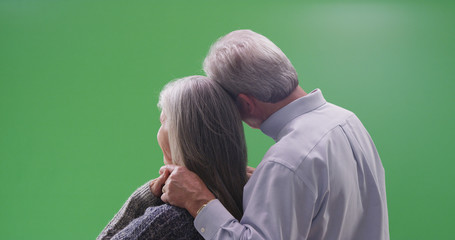 Rear view of loving mature couple looking at a green screen