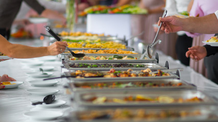 buffet food. catering food party at restaurant.