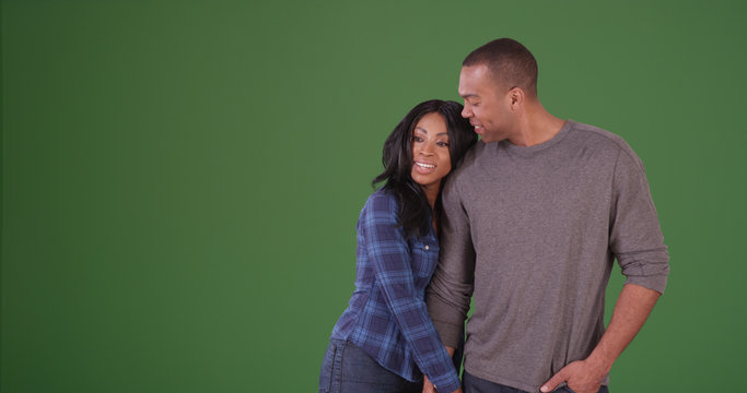 Happy African American couple spending time together on green screen
