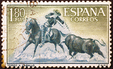 Horseman and bull in spanish postage stamp