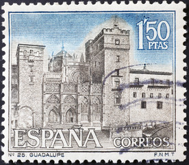 Monastery of Guadalupe on spanish postage stamp