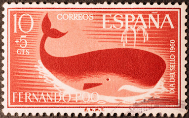 Stylized whale on old spanish postage stamp