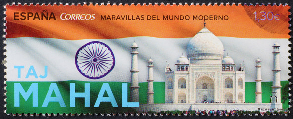 Taj Mahal and indian flag on postage stamp