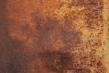 Grunge rusted metal texture. Rusty corrosion and oxidized background. Worn metallic iron panel.