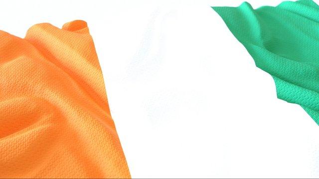 3d render, Realistic Wavy Flag of cote divoire .