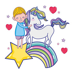 boy and unicorn in the rainbow with star and hearts