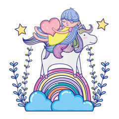 girl and unicorn in the rainbow clouds with branches