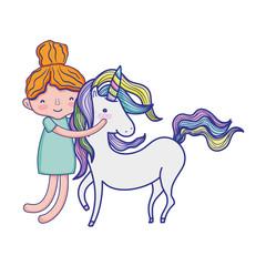 happy boy hugging beauty unicorn