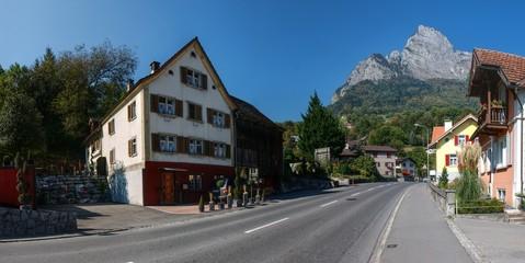 Peak of the Gonzen seen from street level in Sargans, Swiss Rhine valley