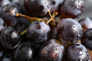 Bunch of fresh ripe juicy grapes as background, closeup