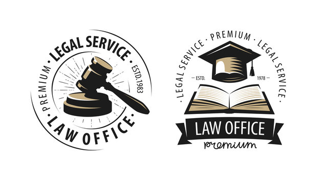 Law office, attorney, lawyer logo or label. Justice symbol. Vector illustration