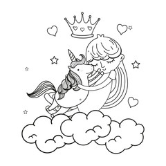 line girl hugging unicorn in the clouds with crown and hearts