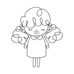 line happy girl with dress and curly hair